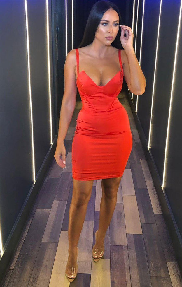 Red Satin Padded Cup Dress - Amalia