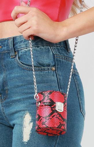 Red Snake Print Cylindrical Shoulder Bag - Freya