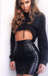 Black Matte Faux Leather Mini High Waist Skirt - Anais