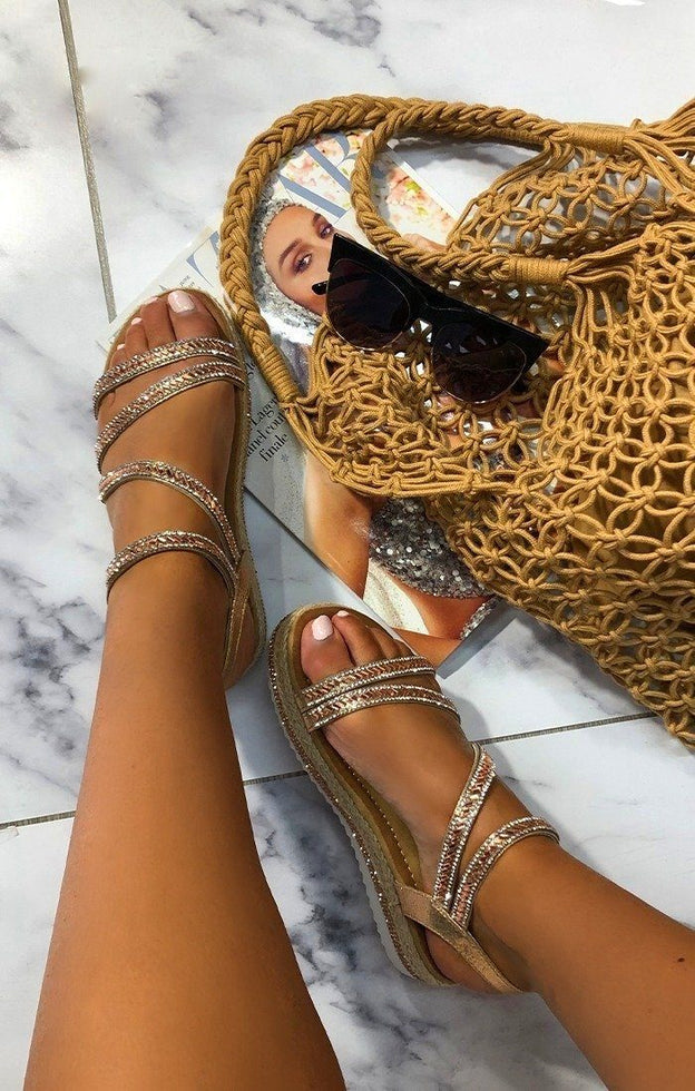 Rose Gold Glitter Flatform Sandals - Melina
