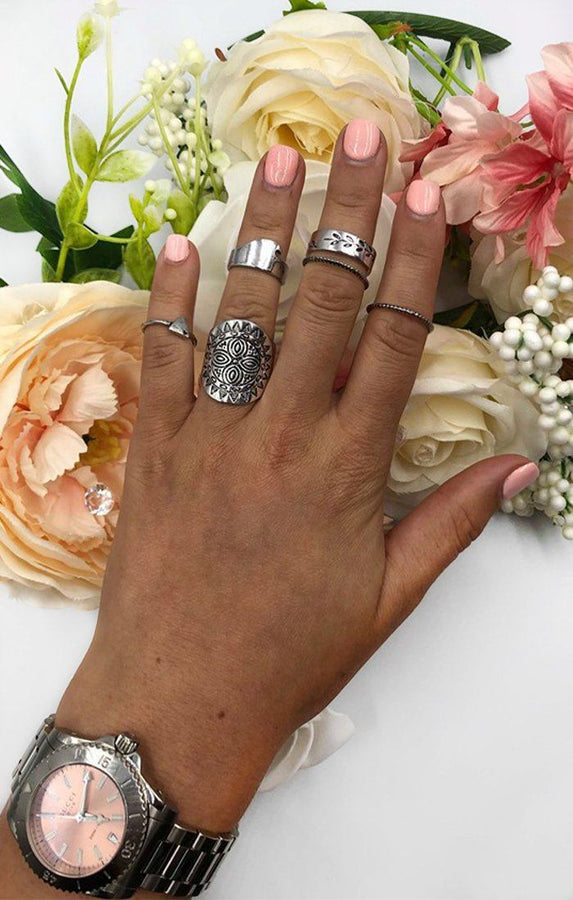Silver 6 Pack Embossed Stacking Rings - Oceane