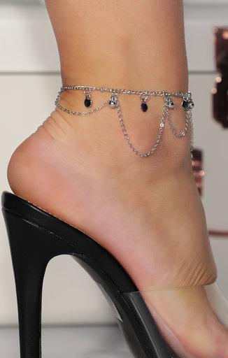 Silver Drop Detail Chain Anklet - Rose