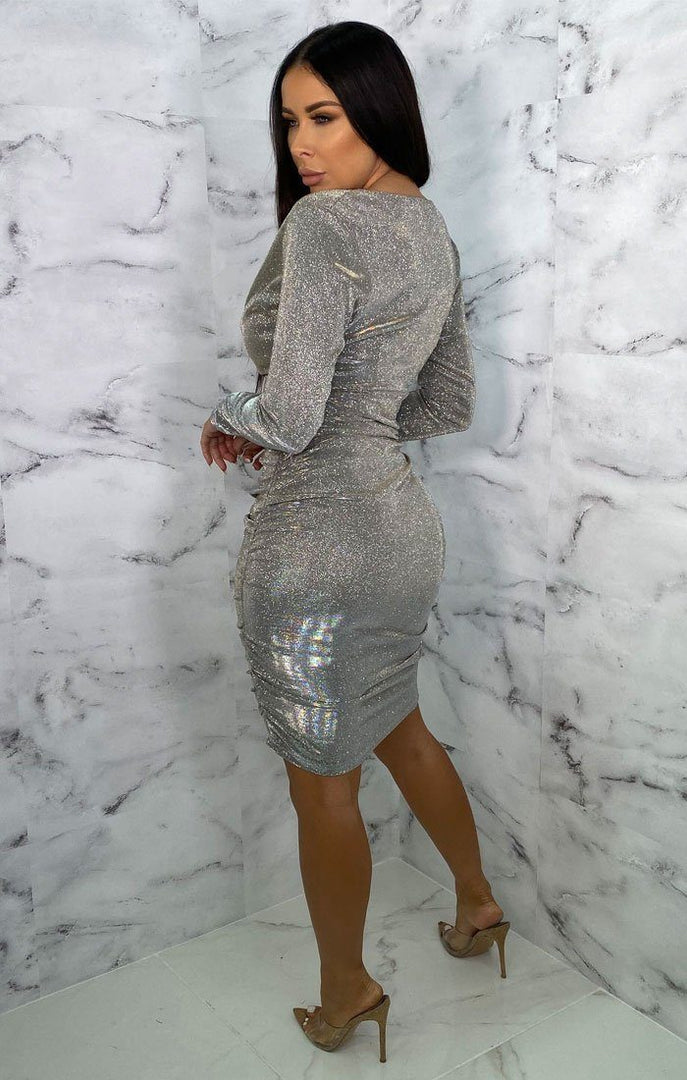 Silver Glitter Long Sleeve Plunge Bodycon Midi Dress - Louise