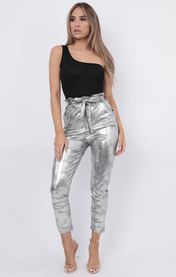 Silver Metallic Paperbag Trousers - Kathy