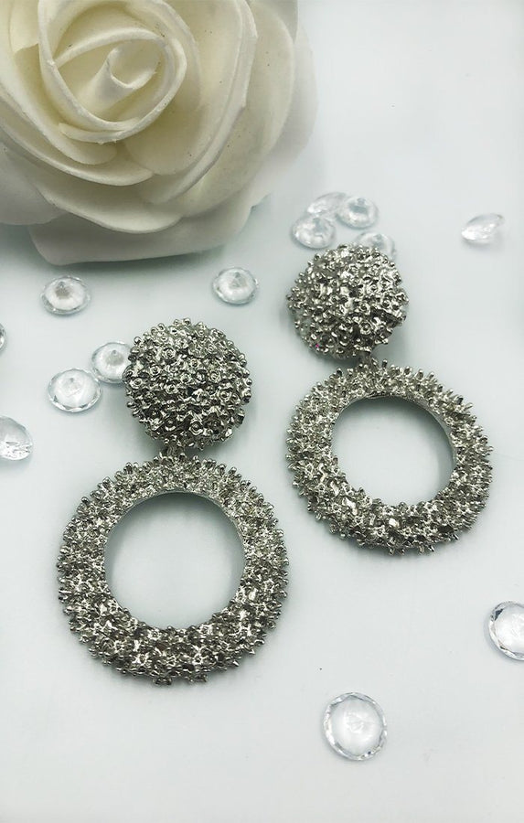 Silver Textured Hoop Earrings - Louise