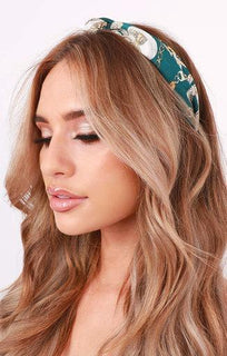 Teal Scarf Print Twist Knot Headband - Meggy