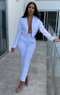 White Belted Cigarette Trousers - Frankie