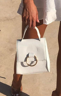 White Croc Grab Bag - Violet