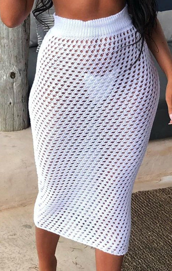 White Crochet Midi Skirt - Dahlia