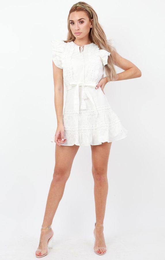 White Frill Sleeve Lace Mini Dress - Adele