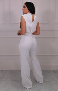 White High Neck Sleeveless Jumpsuit - Marnie
