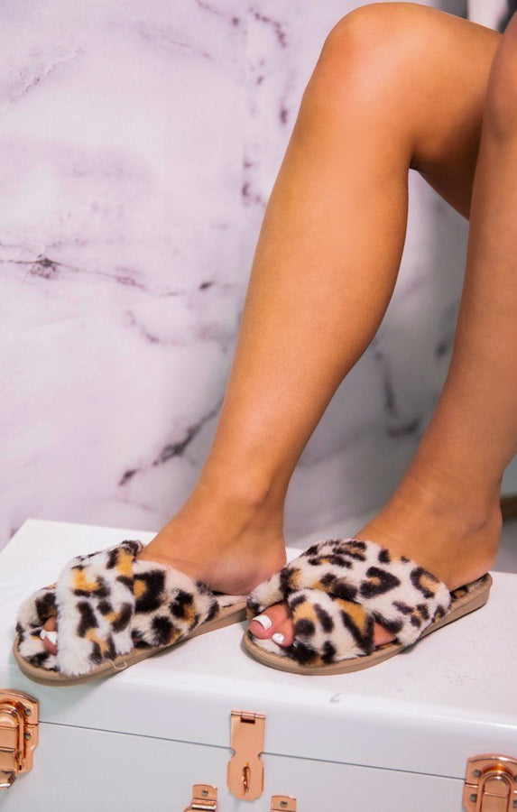White Leopard Print Faux Fur Fluffy Slippers - Saffy