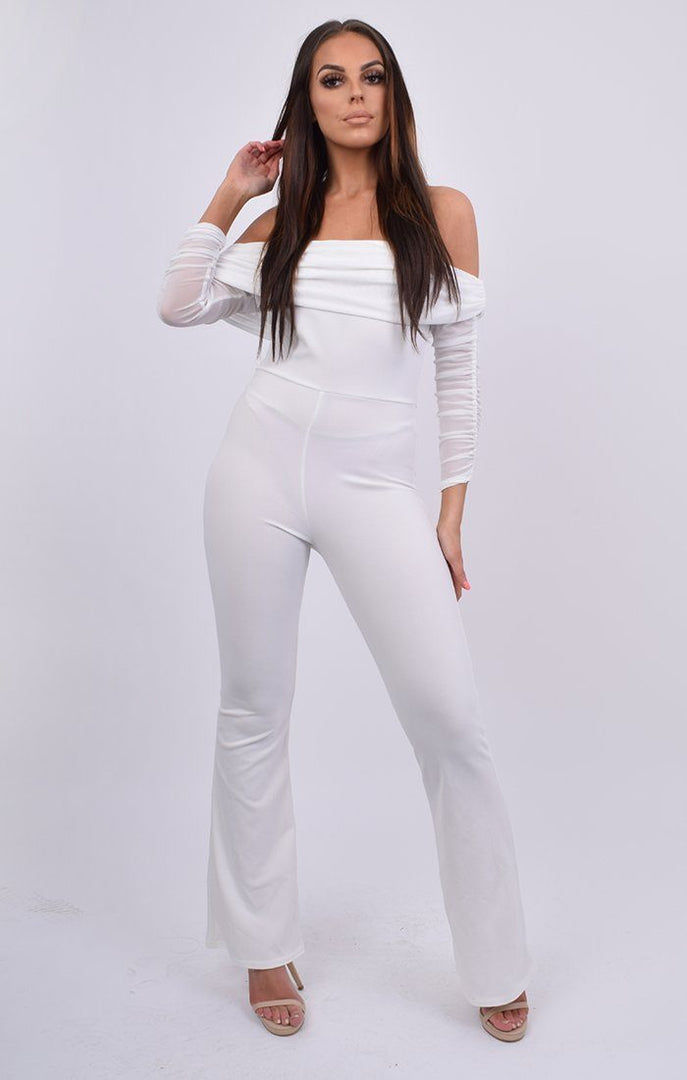 White Mesh Overlay Ruched Sleeve Jumpsuit - Elodie