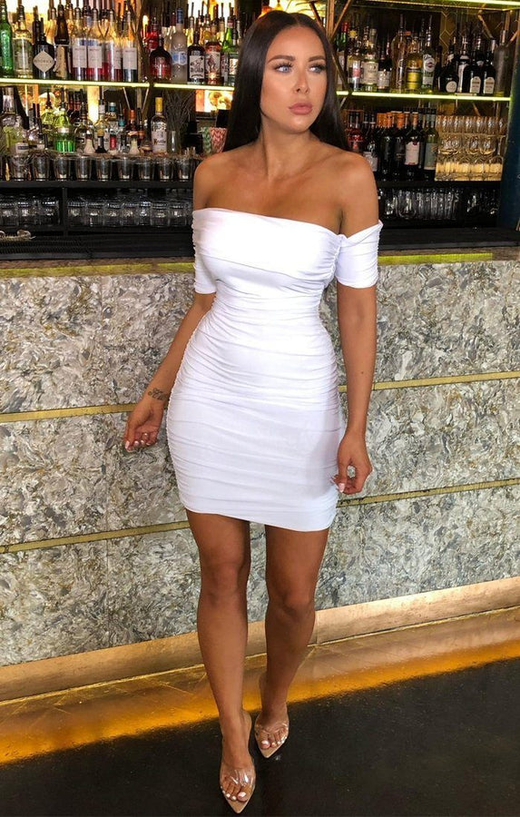 White One Shoulder Bardot Mini Dress - Jayna
