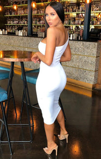 White One Shoulder Midi Dress - Grace
