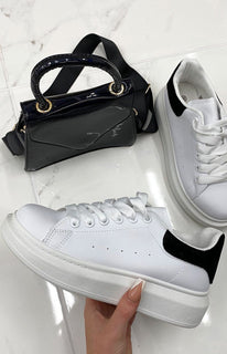 White Oversized Black Velvet Chunky Sole Trainer - Meghan