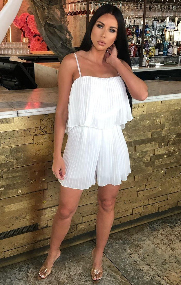 White Pleated Mesh Layered Playsuit - Lilith