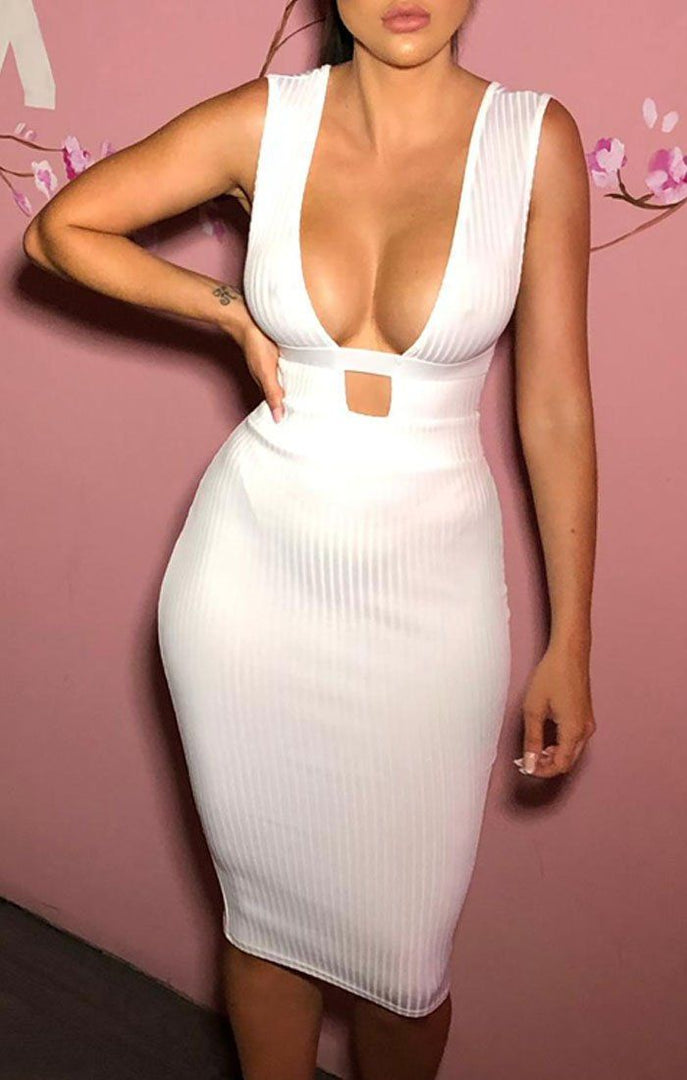 White Plunge Strappy Midi Dress - Ciara