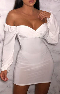 White Slinky Balloon Sleeve Dress - Meghan