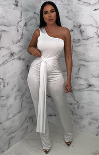 White Slinky One Shoulder Tie Jumpsuit - Roman