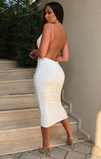 White Slinky Open Ruched Back Dress - Aurelia