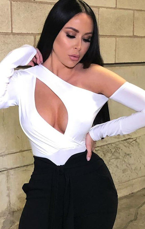 White Slit Front One Shoulder Bodysuit - Kiah