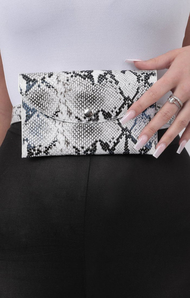White Snake Print Bum Bag - Chels