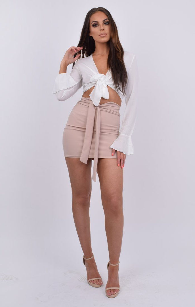 White Tie Front Frill Sleeve Crop Top - Lark