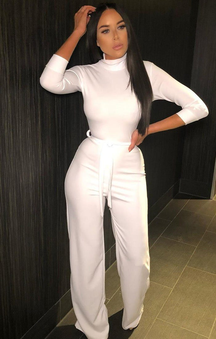 White high Neck Belted Jumpsuit - kady