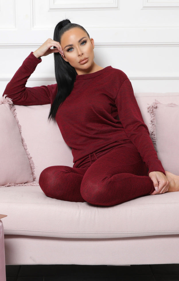 Wine Loungewear Tracksuit Set - Maria