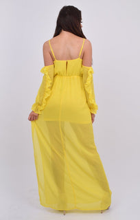 Yellow Bardot Ruffle Sleeve Maxi Dress - Abril