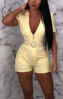 Yellow Utility Contrast Stitch Playsuit - Taylor