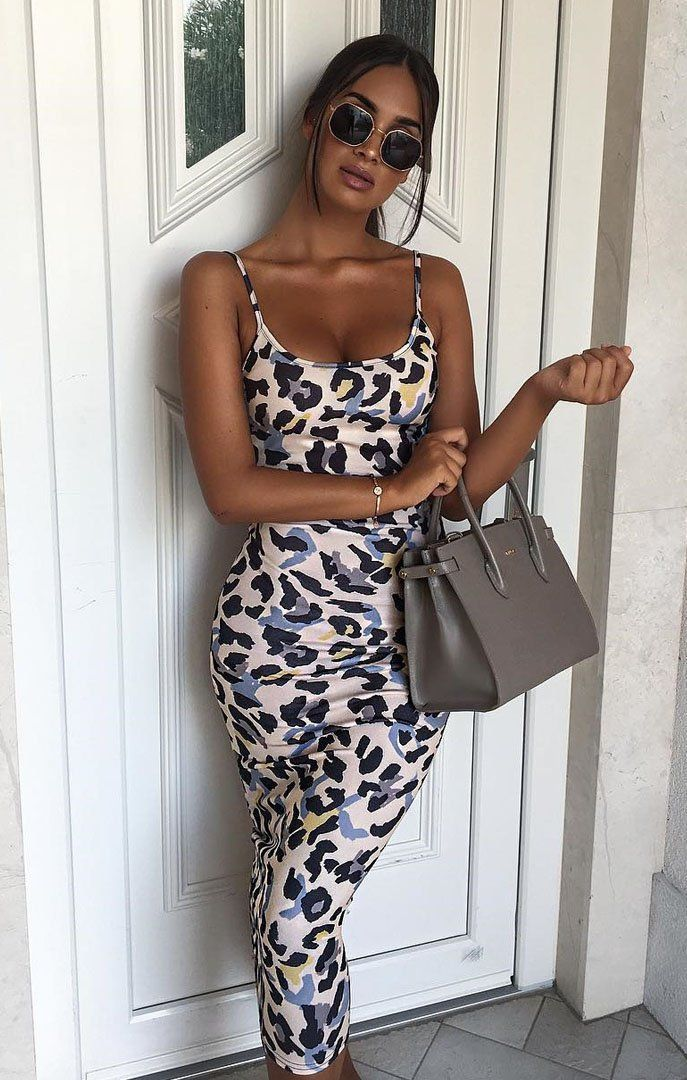 Beige Animal Leopard Print Cami Strap Maxi Dress - Serenna