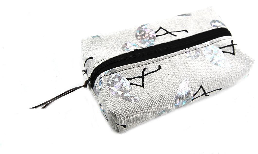 Trousse rectangulaire Flamands Strass fond gris