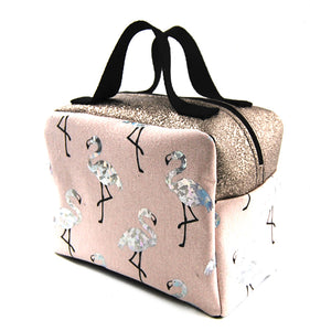 "Vanity / Trousse de toilette  ""Flamands strass fond rose "" dessus paillette bronze"