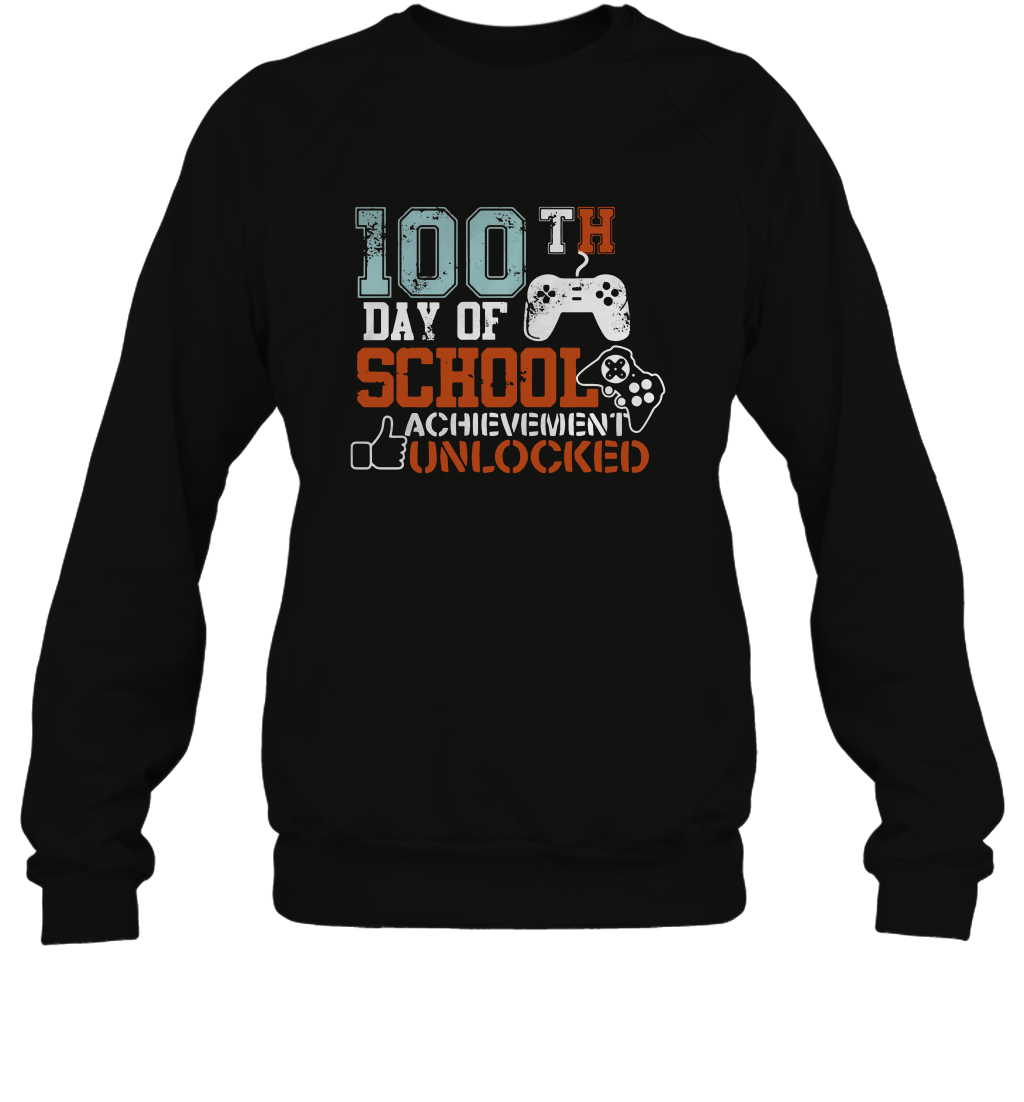 100th-Day-Of-School-Achievement-Unlocked-Shirt Gildan - Heavy Blend Crewneck Sweatshirt - 18000