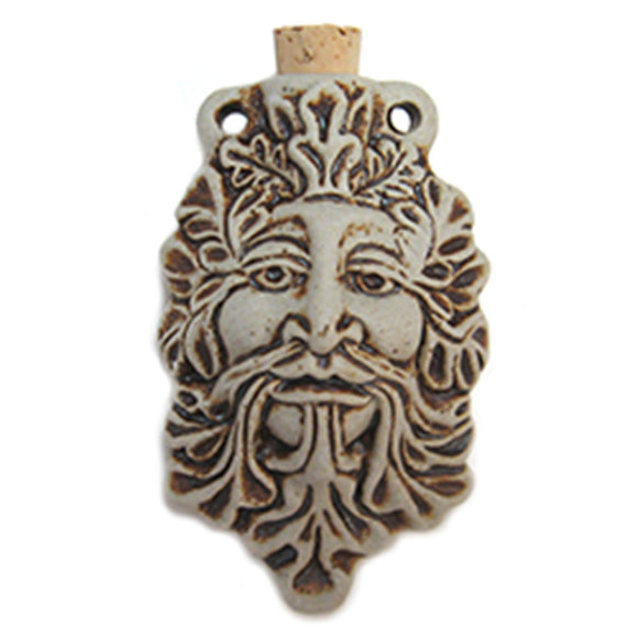 Green Man Ceramic Bottle