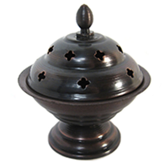 Antiqued Incense Burner with Lid