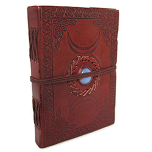 Triple Moon Leather Journal with Stone