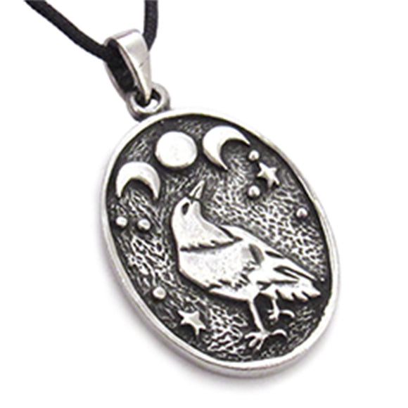 Triple Moon Raven Pendant