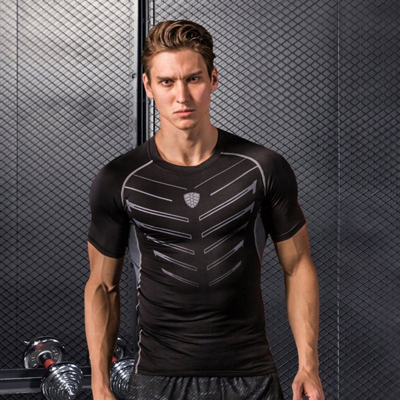 Men's Black Short Sleeve Compression Shirt Athletic Base Layer for Fitness Cycling Training Workout Tactical Sports Wear M-3XL