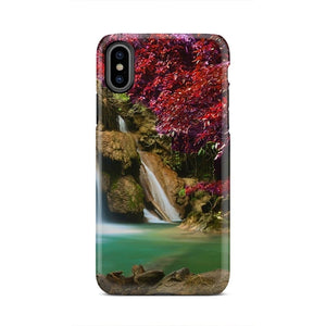 Waterfall Under Red Leaves Nature Design iPhone X