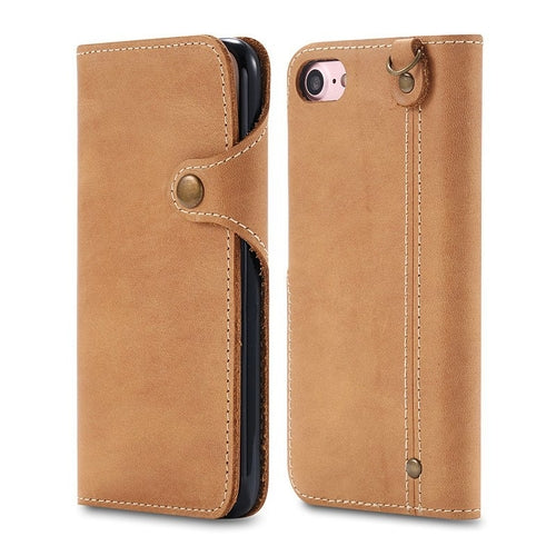 Khaki Leather iPhone Wallet Case