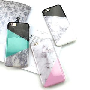 Marble Meets The Fashion Colors iPhone Case