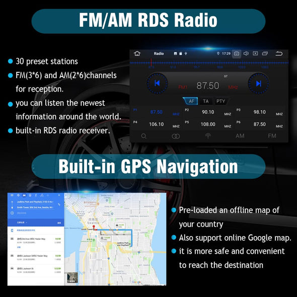 android 9.0 car stereo RDS radio and GPS Navigation