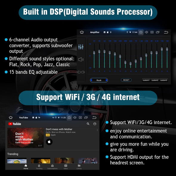 car sterei DSP equalizer, 4g/wifi internet