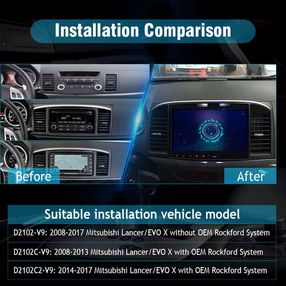 Car Radio installation for Mitsubishi Lancer EVO X