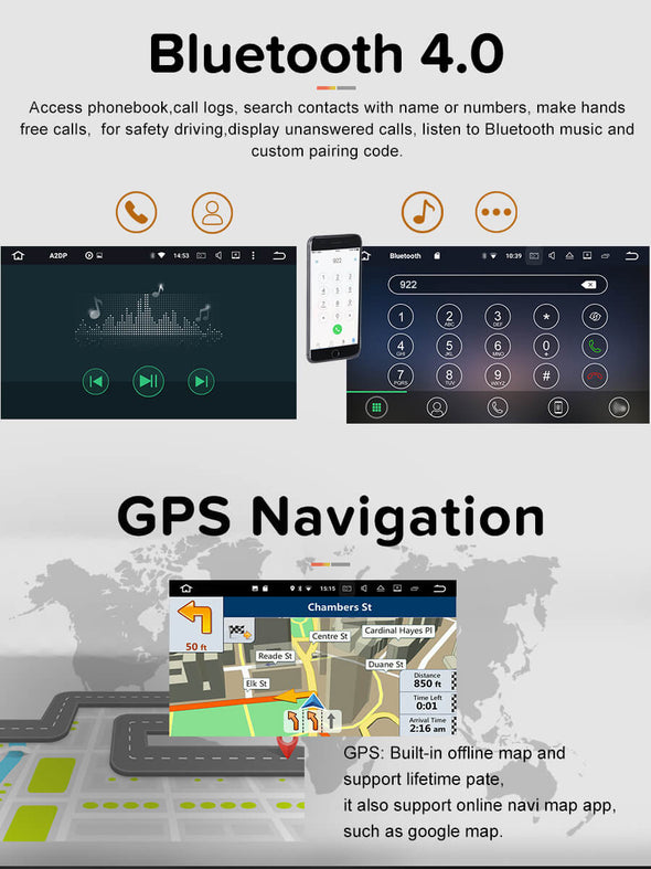 Android 8.0 car radio bluetooth and gps navigation function