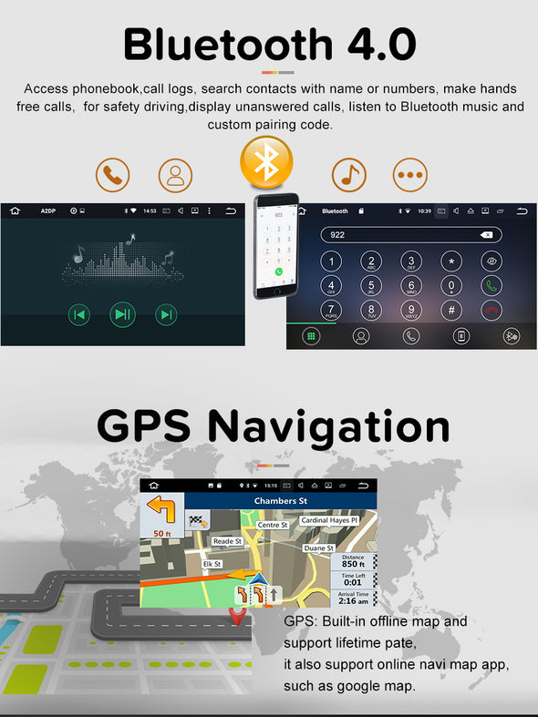 Android car stereo bluetooth and gps navigation function