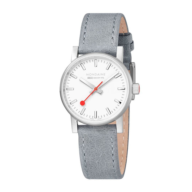 Mondaine Evo 2 Grey Leather Watch